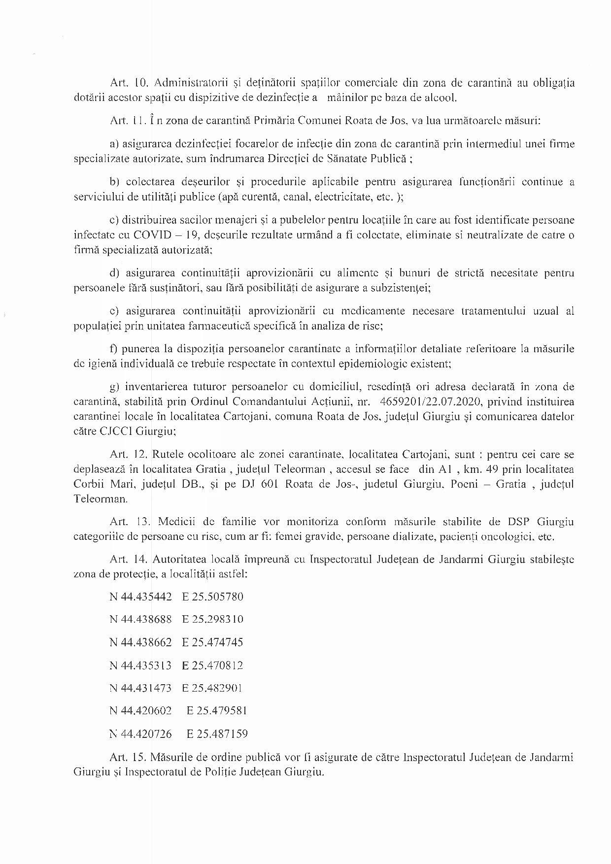 Hotărârea nr 2 - 22.07.2020 pentru instituirea măsurii de carantină pentru localitatea Cartojani din comuna Roata de Jos, județul Giurgiu - p3