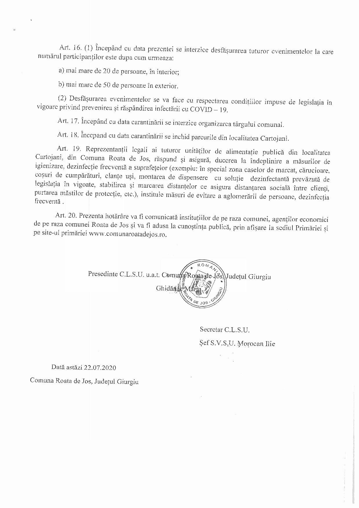 Hotărârea nr 2 - 22.07.2020 pentru instituirea măsurii de carantină pentru localitatea Cartojani din comuna Roata de Jos, județul Giurgiu - p4