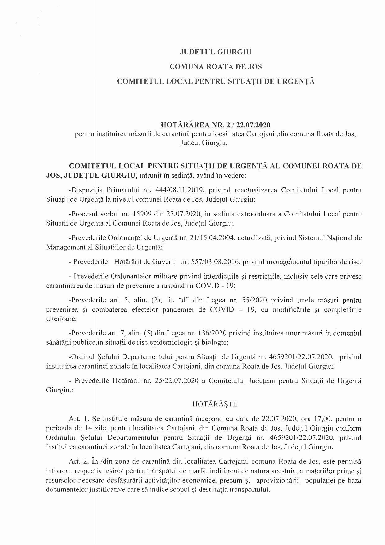 Hotărârea nr 2:22.07.2020 pentru instituirea măsurii de carantină pentru localitatea Cartojani din comuna Roata de Jos, județul Giurgiu - p1