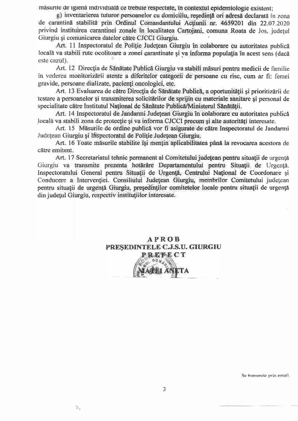 Hotărârea nr 25 din 22.07.2020 a Ministerului Afacerilor Interne, Instituția Prefectului - Județul Giurgiu - pagina 3