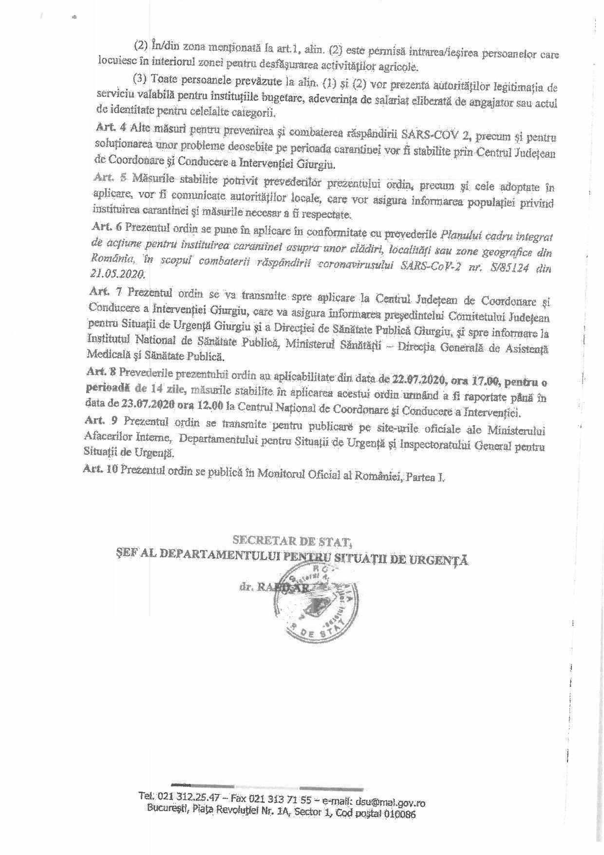Ordinul Sefului Departamentului Pentru Situații de Urgență nr 4659201 din 22.07.2020 privind instituirea carantinei zonale în localitatea Cartojani pagina 3