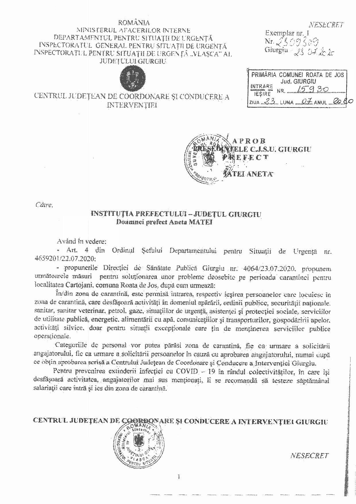 Propunere măsuri pentru soluționarea problemelor deosebite pe perioada carantinei pentru localitatea Cartojani